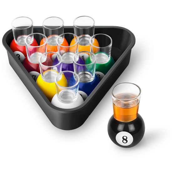Pool Shots Billiard Ball Shot Glass Set with Serving Tray - 11 Pieces
