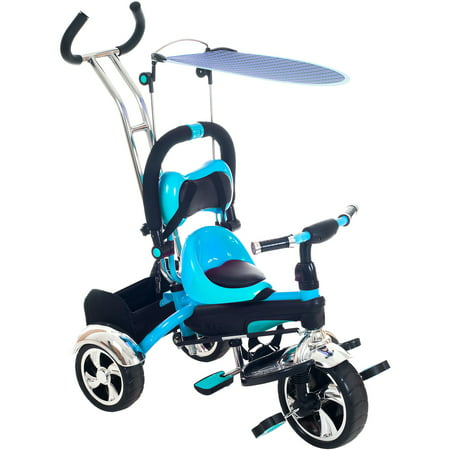 Tricycle Stroller Bike, 3-1 Stroller with Removable Canopy and Stroller Organizer by Lil' Rider, Ride on Toys for Boys and Girls, 1 - 5 Year Old, Blue - Present For 5 Year Old Boy