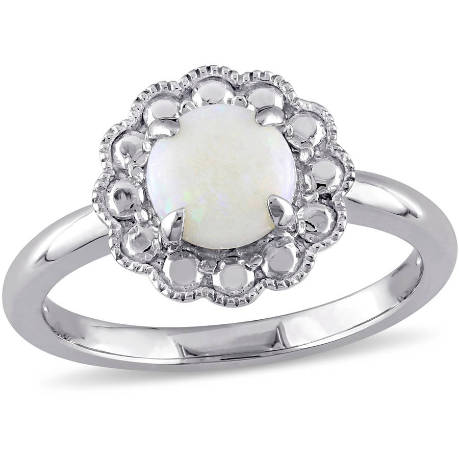 3 4 Carat T.G.W. Opal 10kt White Gold Halo Floral Ring by Generic