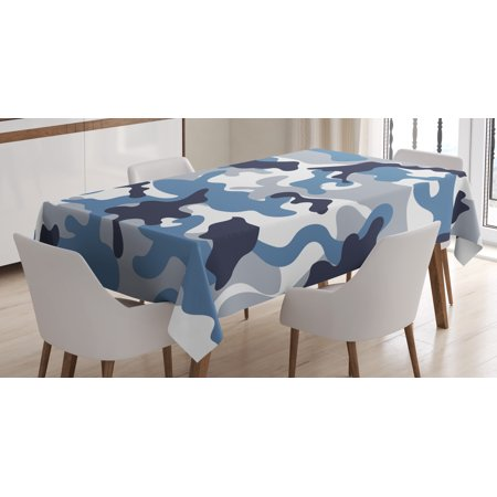 Camouflage Tablecloth, Army Theme Image with Abstract Soft Color Commando Navy Military War, Rectangular Table Cover for Dining Room Kitchen, 60 X 84 Inches, Slate Blue Indigo Grey, by Ambesonne](Camouflage Tablecloths)