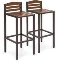 Best Choice Products Set of 2 Outdoor Acacia Wood Patio Accent Barstools w/ Slatted Seat and Backrest, Brown