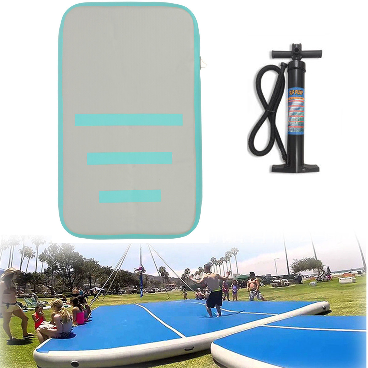 1Pcs 3.2ft x 1.96ft Air Track  Inflatable Training Mat Tumbling Gymnastics Mats Gym Exercise Pad with Hand Pump Children Safe