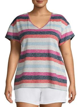 Terra & Sky Women's Plus Size Striped V-Neck T-Shirt