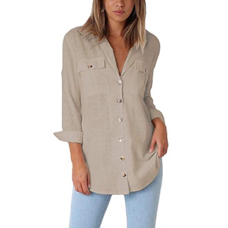 Womens Casual Loose Roll-up Sleeve Blouse Pocket Button Down Shirts (Button Down Chest Pocket Oxfords)