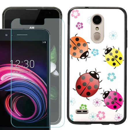 For LG Rebel 4 LTE / Risio 3 / Fortune 2 / Zone 4 / Phoenix 4 Phone Case, Slim-Fit TPU Case (Black Bezel) with Tempered Glass Screen Protector, by OneToughShield ® - Ladybug