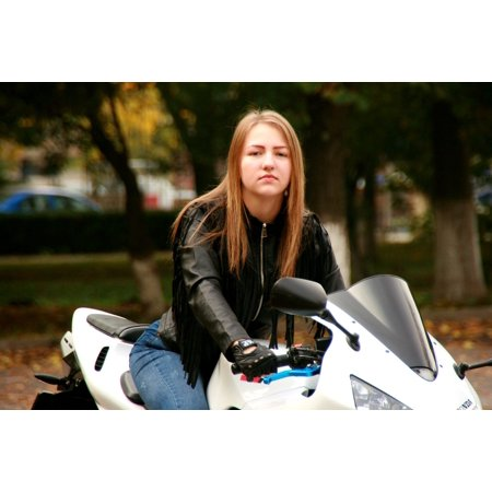LAMINATED POSTER Motorcycle Leather Jacket Biker Blonde Girl Ride Poster Print 24 x 36 - Motorcycle Girls Leather