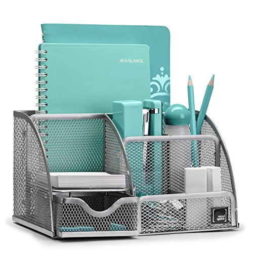 Office Desk Organizer With 6 Compartments + Drawer + Pen U0026 Pencil Holder |  The Mesh