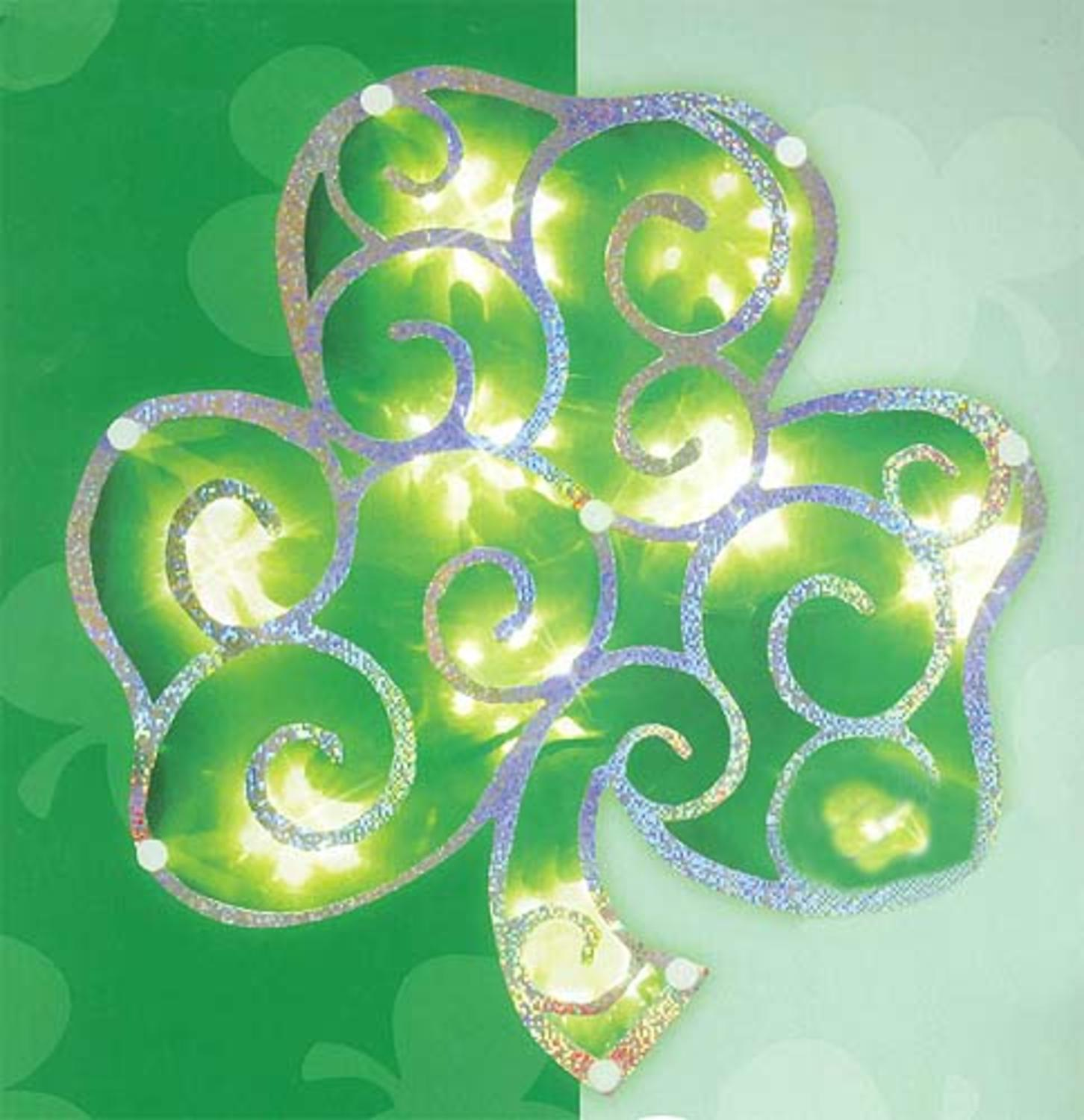 "11"" Lighted Shimmering St. Patrick's Irish Shamrock Window Silhouette Decoration"