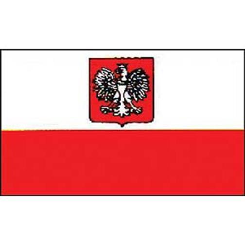 """Old Poland Flag On Stick 4"""" x 6"""""""