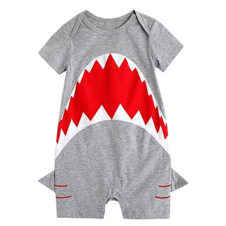 stylesilove Baby Boy Shark Print Short Sleeves Cotton Romper (70/6-12 Months) Boys Short Sleeve Romper