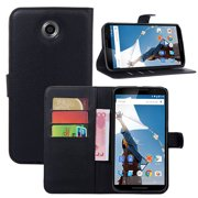 Nexus 6 Case, DigitalsOnDemand ® Slim Black Folio Wallet Leather Cover Case Stand with Credit Card holder Slot and Pouch for Google Nexus 6