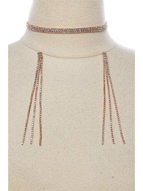 103c1502c3 Womens Fancy Triple Rhinestone Layered Choker with Long Earring Set  GYE0241-Gold AB. GenX