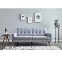 Grey Sectional Sofa Bed, SEGMART 9.6''x33.4''x 34.6'' Mid-Century Sectional Sofas with Medium Soft Cushions, Grey Linen Loveseat Sofa Beds with Solid Wood Frame and Wood Leg for Small Space, S5188