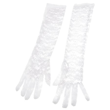 Pair Feminine Bridal Floral Print Hollow Out Lace Fullfinger Gloves - Girls Lace Gloves