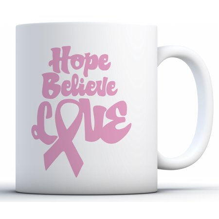 Awkward Styles Hope Believe Love Coffee Mug Breast Cancer Awareness Mugs Gifts for Cancer Survivor Pink Ribbon Mugs for Men and Women Cancer Support Ribbon Gifts for Coffee Lovers and (Best Gift For Tea Lovers)