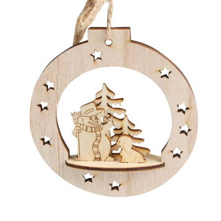Snowflake Wood Embellishments Rustic Christmas Tree Hanging Ornament - Snowflake Decor
