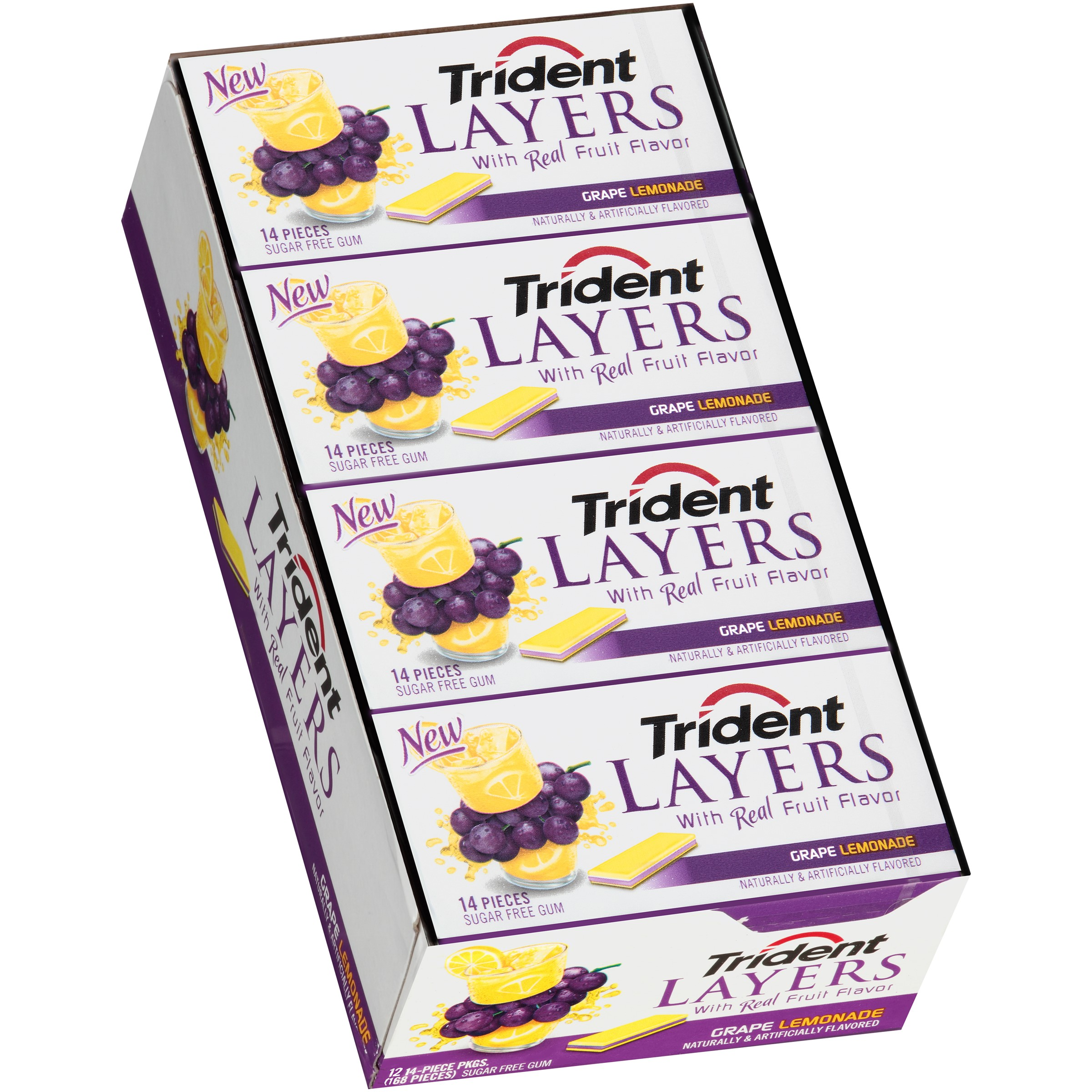 Trident Layers Grape Lemonade Sugar Free Gum 14 Piece Pack