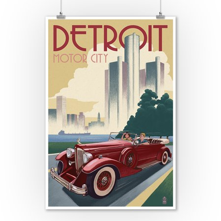 Vintage Car Decor (Detroit, Michigan - Vintage Car & Skyline - Lantern Press Artwork (9x12 Art Print, Wall Decor Travel)