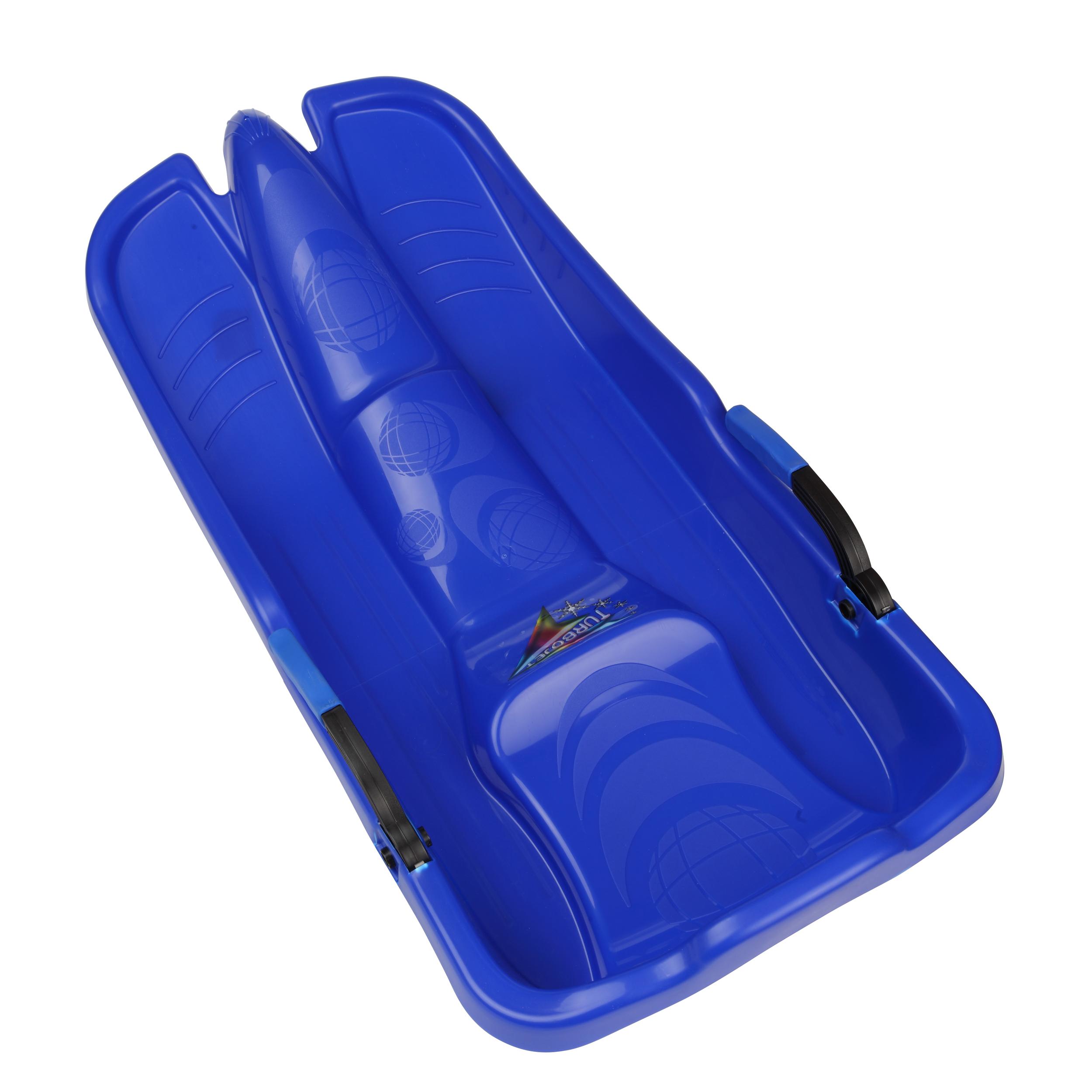 TurboJet 34-Inch Snow Sledge with Handles and Raised Backrest by Plastkon Blue by Plastkon