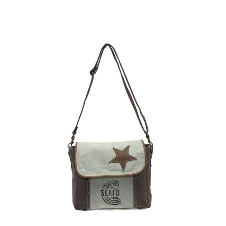 Star On Upcycled Canvas and Grenuine Leather Messenger Bag - image 4 of 4