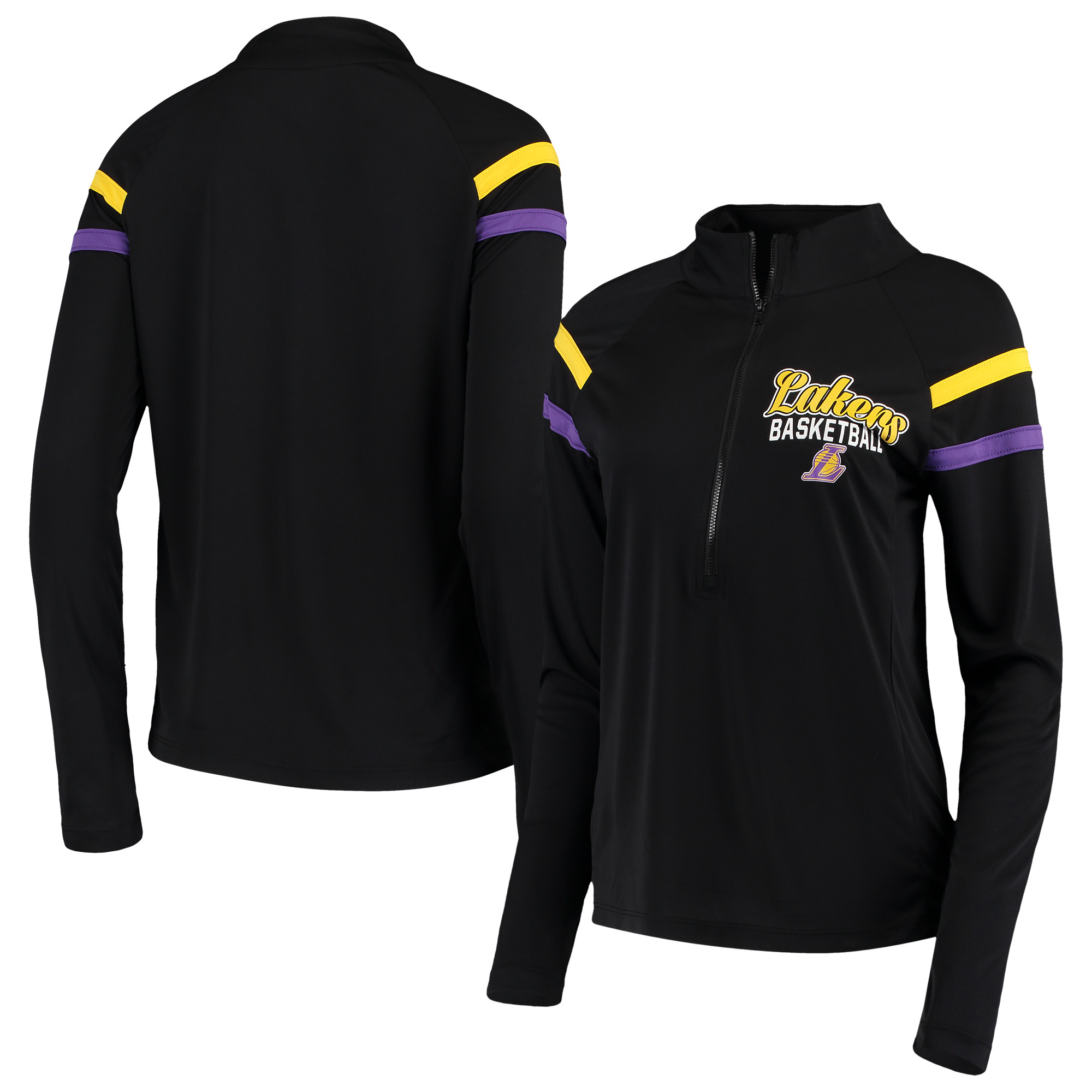Los Angeles Lakers 5th & Ocean by New Era Women's Pullover Half-Zip Thumb Holes Jacket - Black