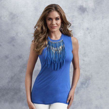 K. Jordan Fringe Tank Top In Light Blue - M