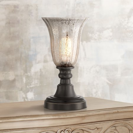 "Regency Hill Traditional Uplight Desk Table Lamp 13"" High Dark Bronze Mercury Glass Shade for Bedroom Bedside Nightstand Office"