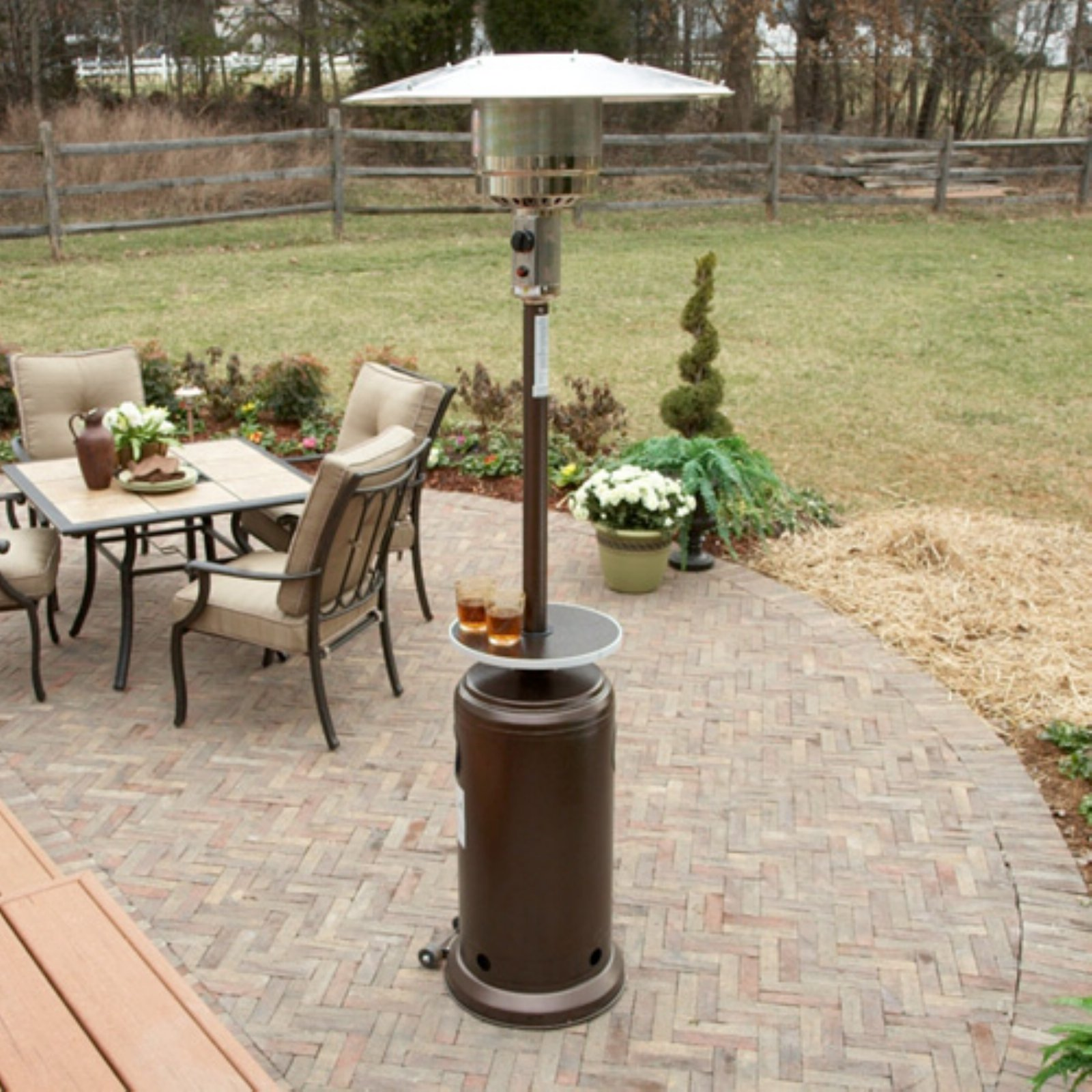 Hiland Tall Hammered Bronze Patio Heater With Table Walmart Com