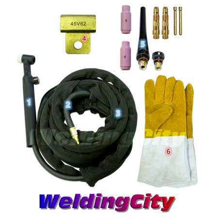 (WeldingCity WP-26FV-12R Complete Ready-to-Go Package Flex-Head Gas-Valve 12' 200Amp Air-Cooled TIG Welding Torch)