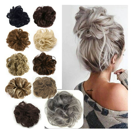 FLORATA Hair Bun Extensions Wavy Curly Messy Hair Extensions Donut Hair Chignons Hair Piece Wig Hairpiece ()