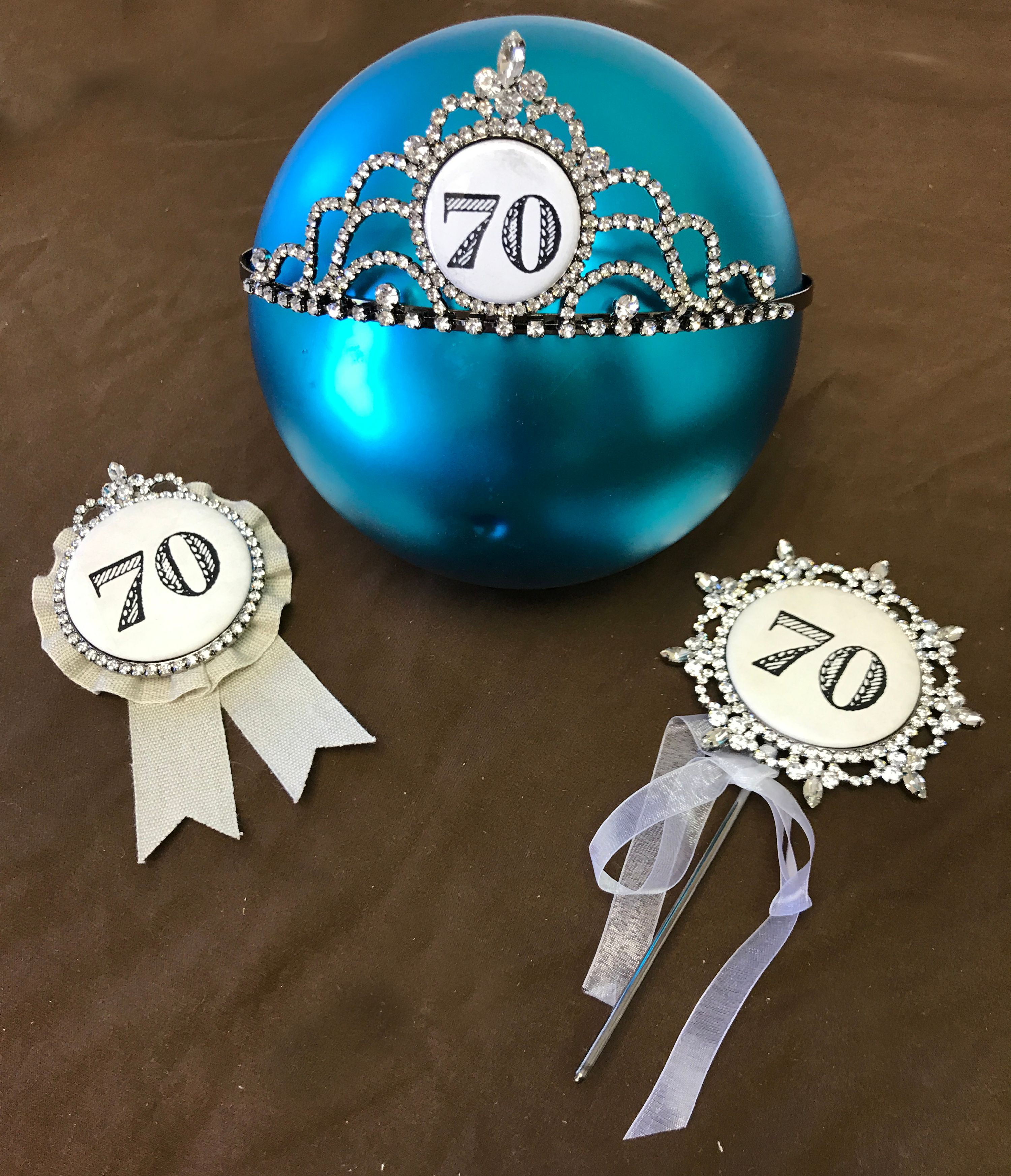 Happy 70th Birthday Cake Topper An Award And A Bling Tiara