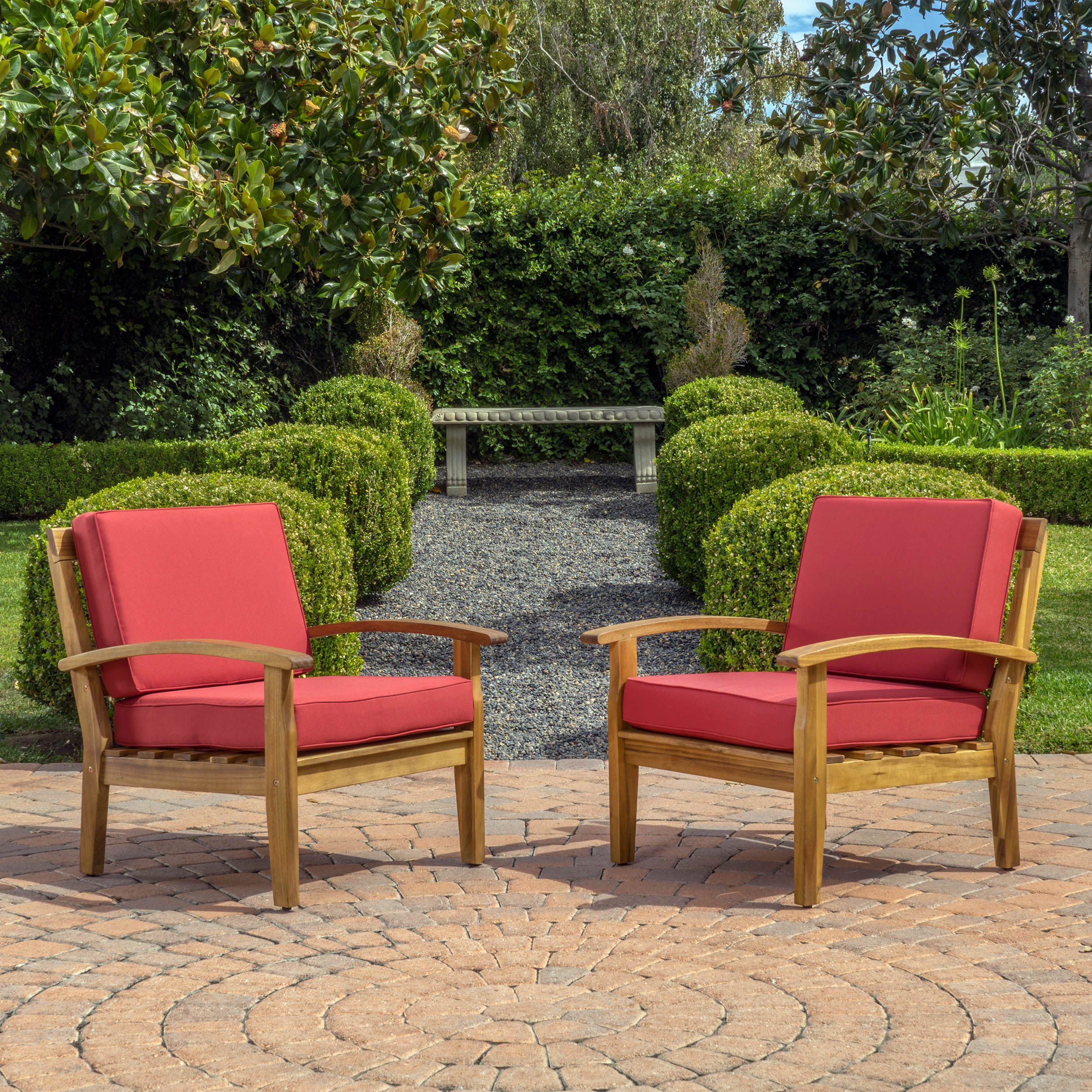 Aletta Outdoor Wooden Club Chairs with Cushions , Set of 2, Teak Finish, Red by Noble House