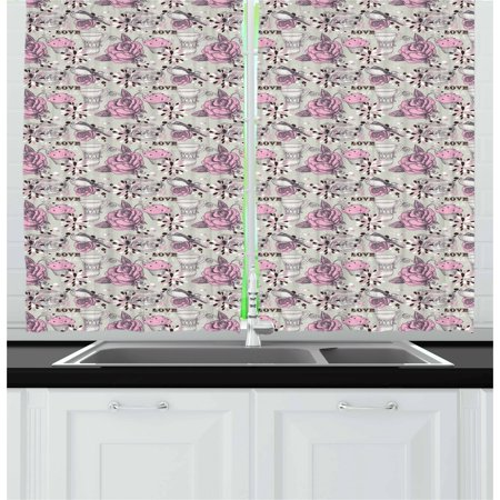 Tea Party Curtains 2 Panels Set, Ornate Teacup and Pot with Romantic Roses Birds Valentines Day Themed Image, Window Drapes for Living Room Bedroom, 55W X 39L Inches, Pale Pink - 583 Rose