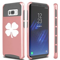 For Samsung Galaxy Shockproof Impact Hard Soft Case Cover 4 Leaf Clover (Rose-Gold For Samsung Galaxy S8)