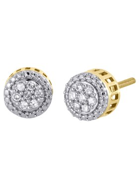 10K Yellow Gold Round Diamond Flower Circle 3D 9mm Studs Small Earrings 0.15 CT.