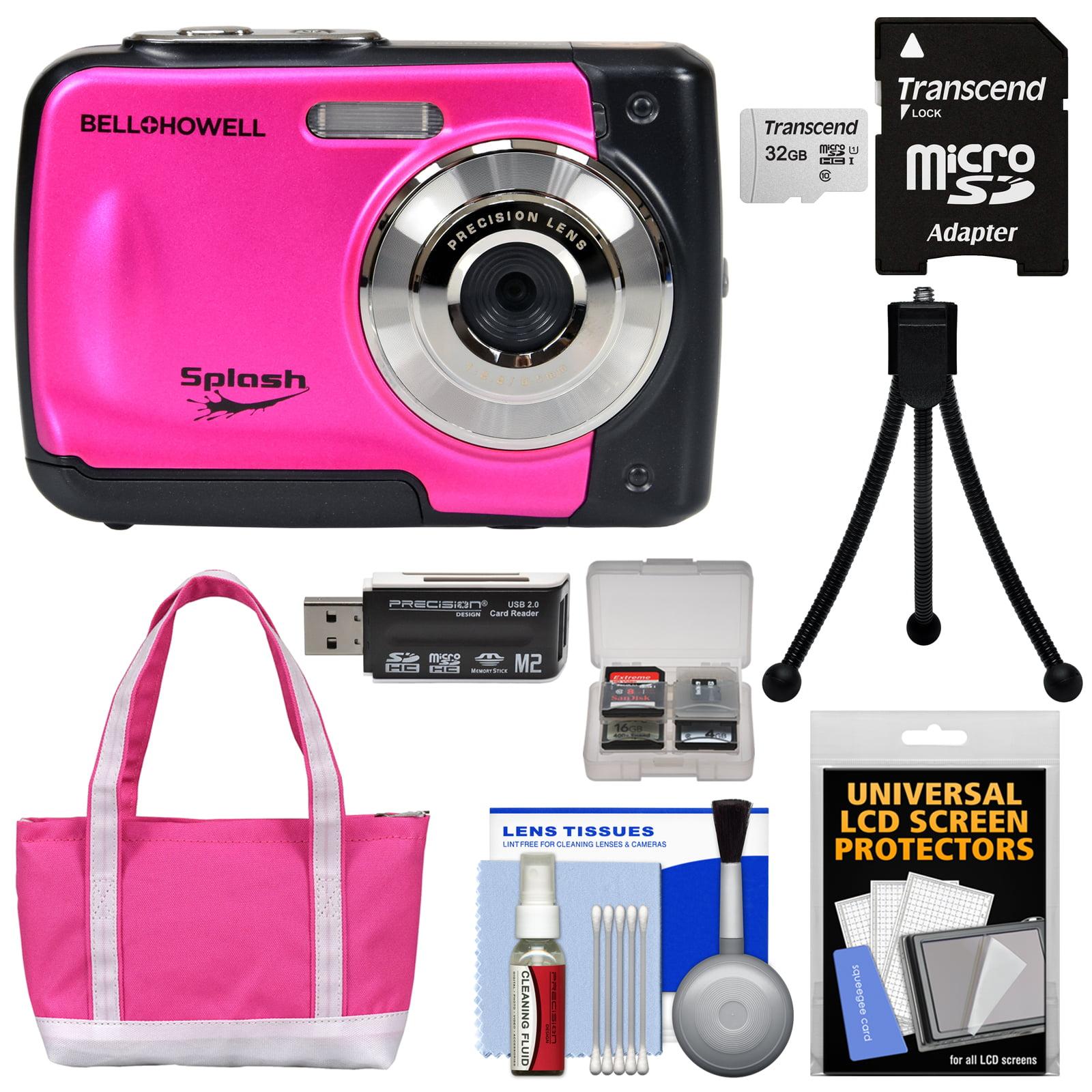 Bell & Howell Splash WP10 Shock & Waterproof Digital Camera (Pink) with 16GB Card + Batteries & Charger + Case + Flex Tripod + Kit
