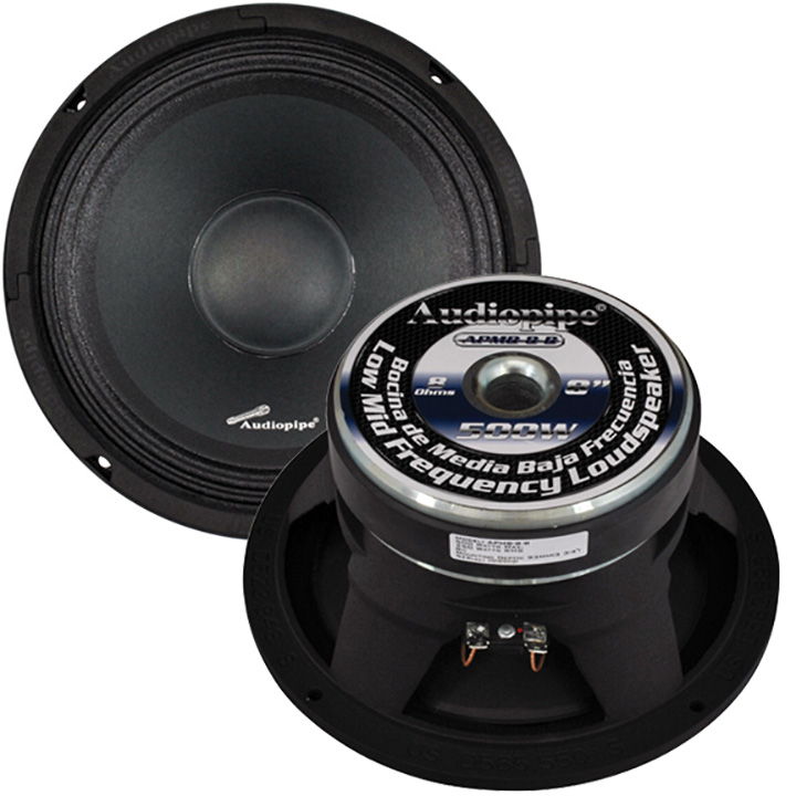 "Audiopipe 8"" Midbass(Sold each) 500W 8Ohm Cast Basket"