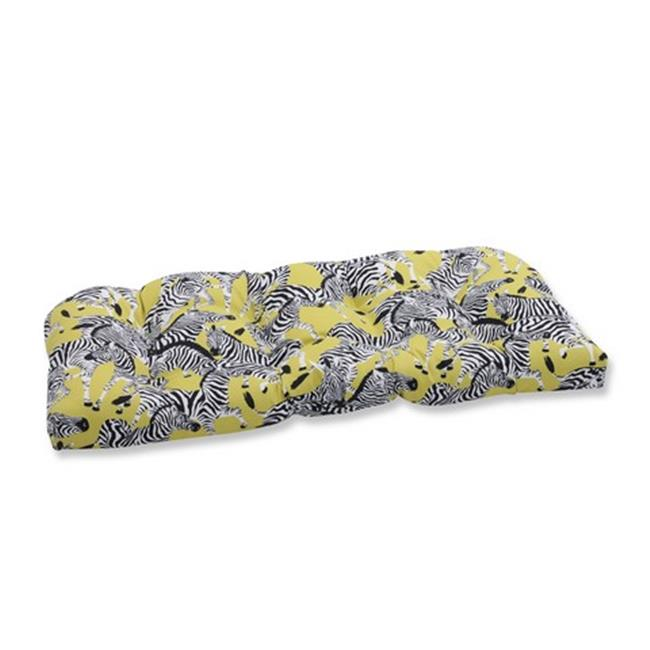 Indoor-Outdoor Herd Together Wasabi Wicker Loveseat Cushion, Yellow