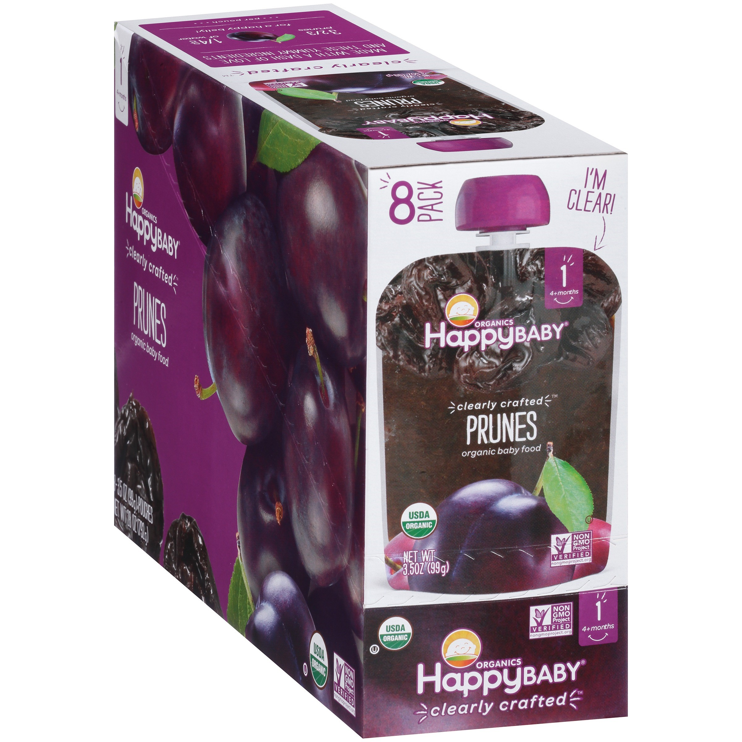 (8 Pack) Happy Baby® Organics Prunes Baby Food 3.5 oz