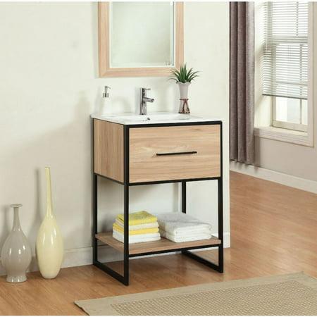 Legion Furniture  24-inch Maple Finish Single Sink Vanity with Black Metal Frame