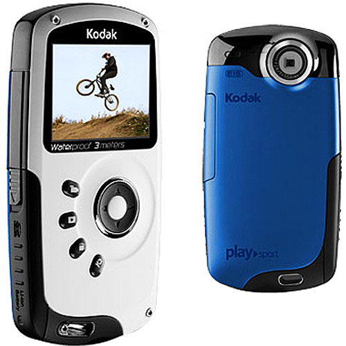 refurbished kodak playsport zx3 blue hd waterproof pocket