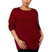 Karen Scott Plus Size Cotton Sweater New Red Amore Marl 3X