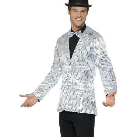 Mens Fancy Dress Silver Sequin Magicians Tuxedo Jacket Costume](Mens Tuxedo Costume)