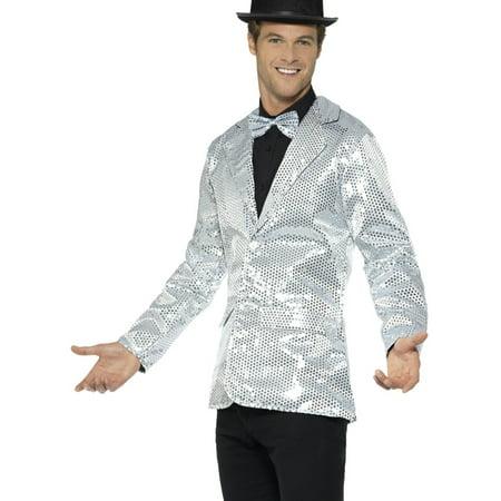 Mens Fancy Dress Silver Sequin Magicians Tuxedo Jacket - Sequin Tuxedo Jacket