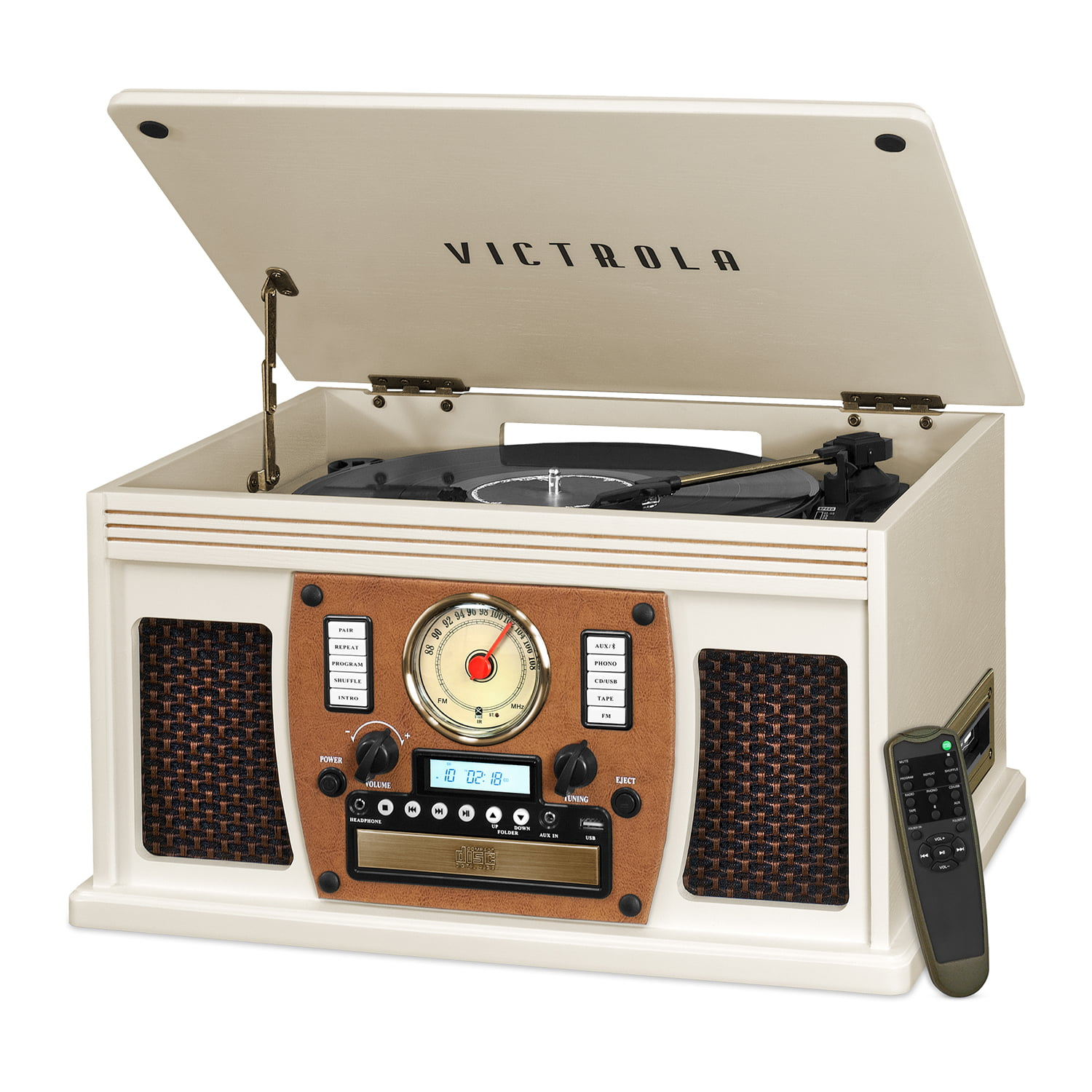 Victrola Wood 8-in-1 Nostalgic Bluetooth Record Player with USB Encoding and 3-speed Turntable - White