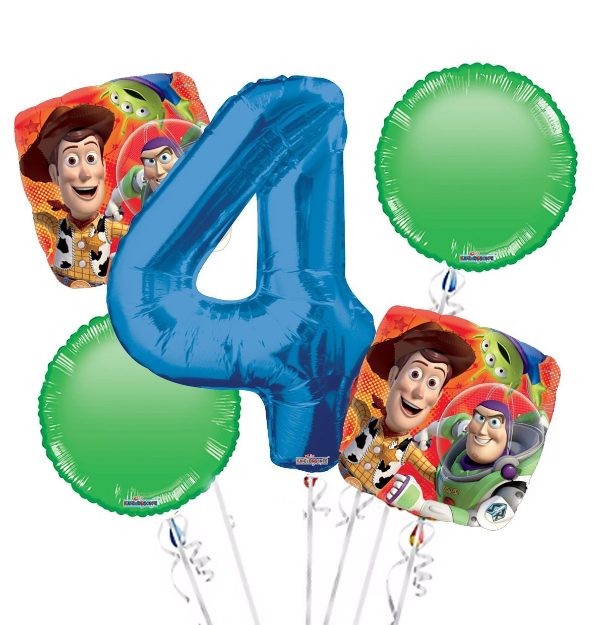 Toy Story Balloon Bouquet 4th Birthday 5 pcs - Party Supplies, 1 Giant Number 4 Balloon, 34in By Viva Party
