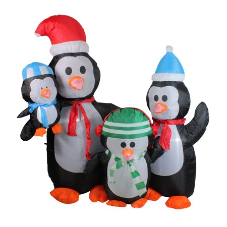 5' Inflatable Penguin Family Lighted Christmas Yard Art Decoration - Christmas Inflatables