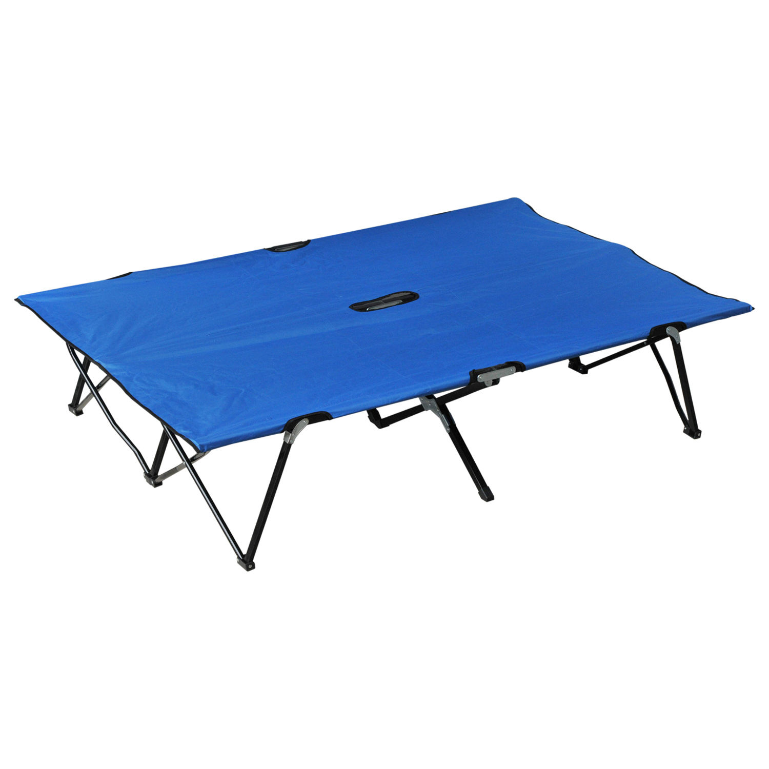 "Outsunny 76"" Two Person Double Wide Folding Camping Cot Blue by Aosom LLC"