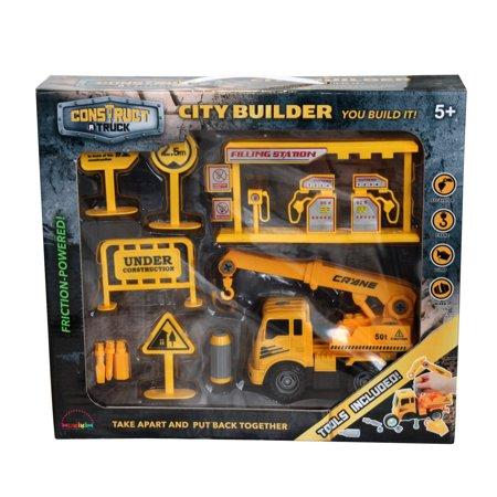 Winning Set - Construct A Truck-City Builder Set-Crane. Create a construction site, then take the truck apart&put it back together+Friction powered(3-toys-in-1!) Awesome award winning set encourages creativity!