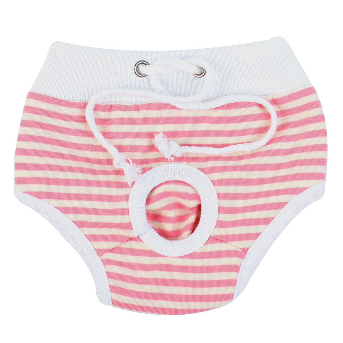 Pink White Striped Detail Drawstring Closure Pet Dog Puppy Waist Diaper Pants XS